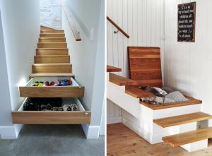 prostor pod schody - šuplíky