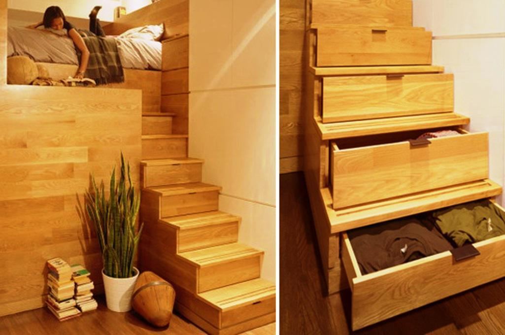 úložné prostory - schody a šuplíky
