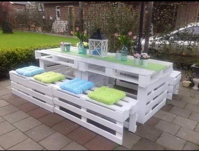 zahradní nábytek z palet - jídelní sestava