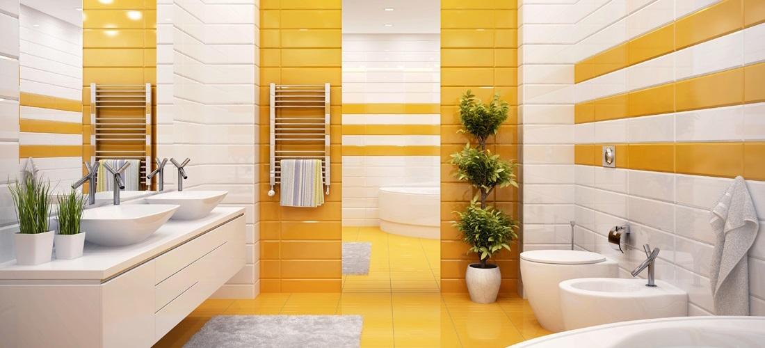 Orange bathroom in a modern style