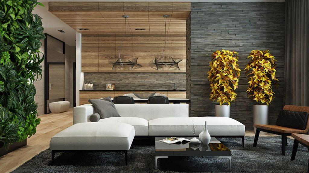 čím efektně obložit stěnu - obývák s podhledem