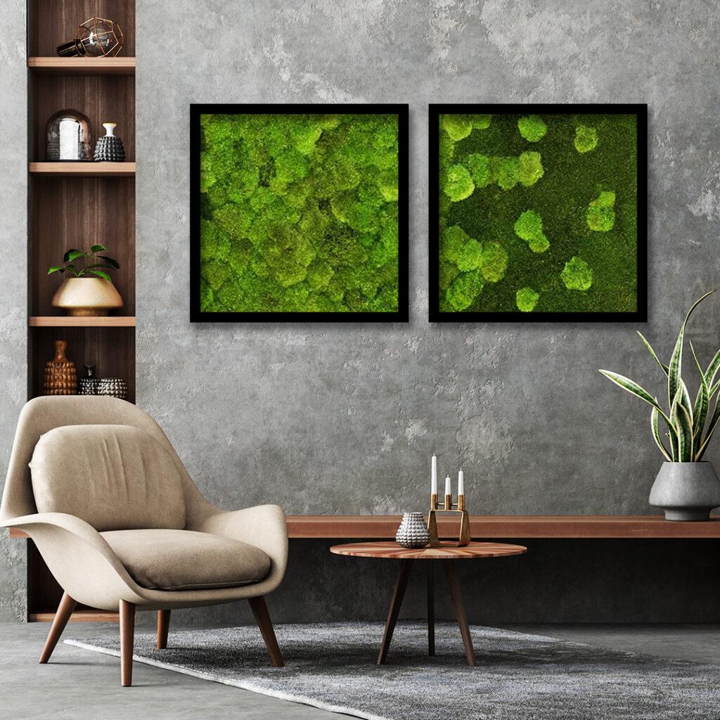 Mechová stěna či obraz jako originální přírodní dekorace